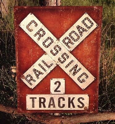 RAILROAD CROSSING 2 Tracks Sign Tin Vintage Garage Bar Decor Old Round Train](Train Decor)