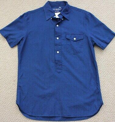 Ralph Lauren Button Shirt S Indigo Chambray S/S NWT $90 Men's Blue $125 Small