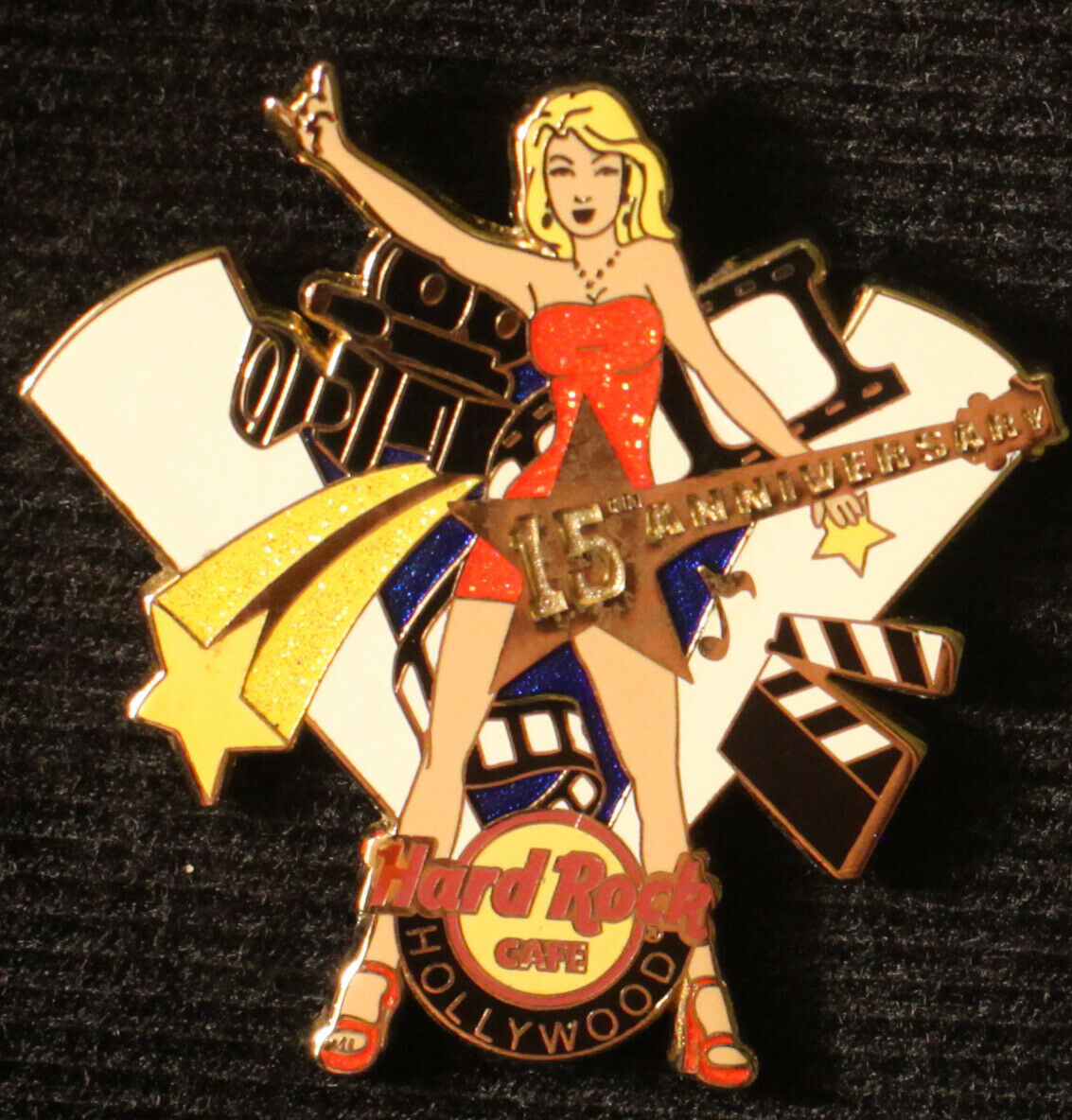 Hard Rock Cafe Pin HOLLYWOOD 15th Anniversary Movie Star Guitar Girl Film Camera - $9.99