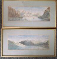 Two Framed Victorian Watercolour Paintings Italian Mountain Lake Views -  - ebay.co.uk