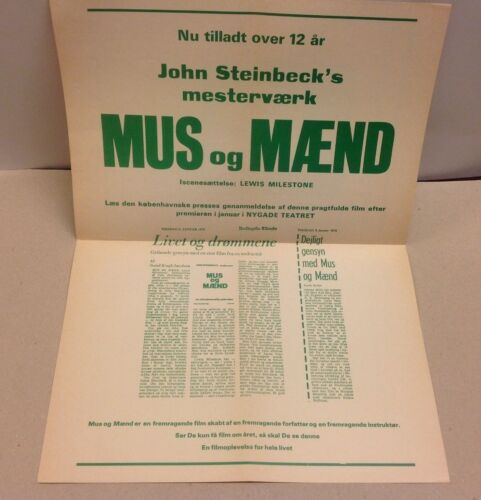 """""""Of Mice and Men"""" Burgess Meredith Lon Chaney Vtg 1939 Danish Press Release Kit"""