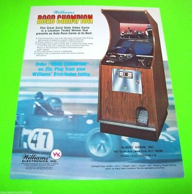 Williams ROAD CHAMPION Original NOS 1977 Video Arcade Game Flyer Race Car Drivin for sale  Shipping to Canada