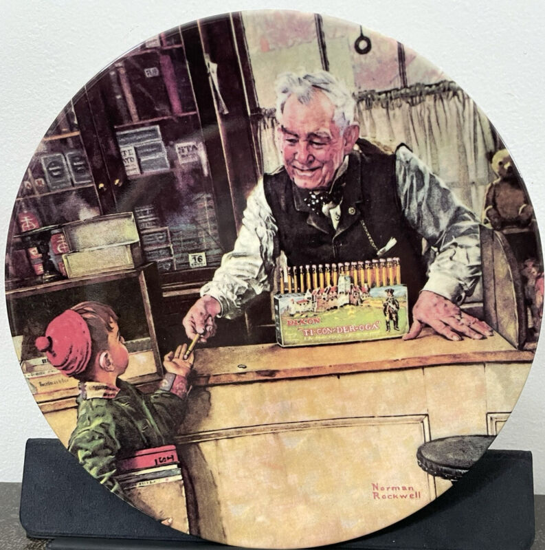 2001 Norman Rockwell Heritage HIS FIRST PENCIL Ltd Ed Plate Box & COA