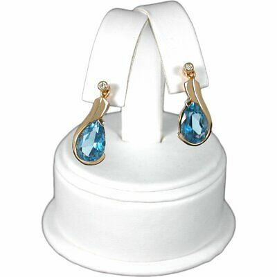 White Faux Leather Earring Jewelry Display Counter Stand 2 12 X 3 12