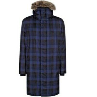 NEW PAUL SMITH HOODED CHECKED WOOL NEW PARKA COAT  MADE IN ITALY SIZE XL Hooded Wool Parka