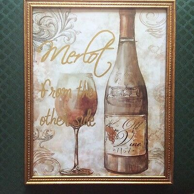MERLOT FROM THE OTHER SIDE WALL HANGING  PICTURE - BAR THEME - ADELE - (Glasses From The Side)