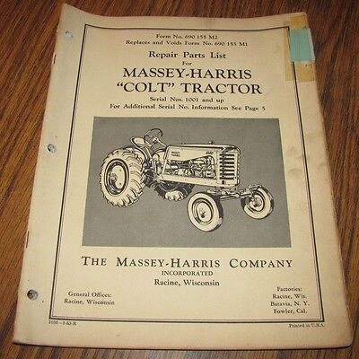 Massey Harris Colt Tractor Parts Catalog Manual Sn 1001 Up Issued 1953 Mh