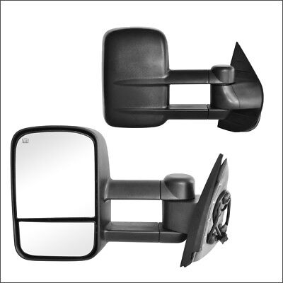 Tow Mirror Power Heated Texture Black Pair Set of 2 fits Chevy GMC Pickup SUV