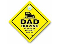 Ex Wife in Boot Stick on Car Signs Dads Taxi Car Sign  including MumsTaxi