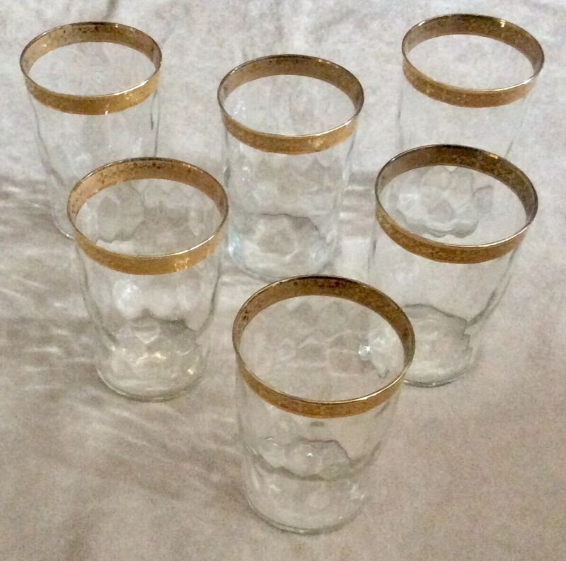 "Set of six crystal Tumblers gold rim overlay4"" tall"
