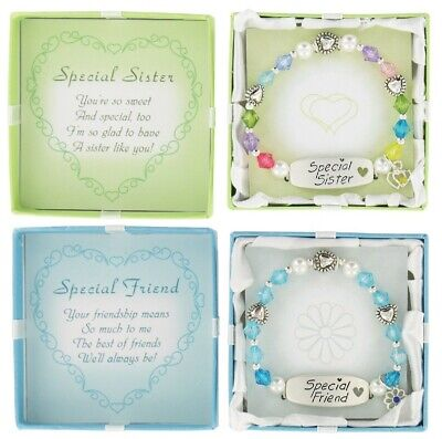 *NEW in Box Special Sister Gift or Special Friend Gift Stretch Charm Bracelet Beads Stretch Bracelet Box