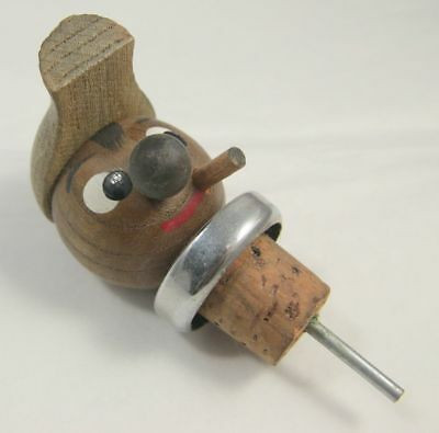 Kitsch Vintage Decorative Cork / Stopper - Cartoonish Smoking Man w/ Cap