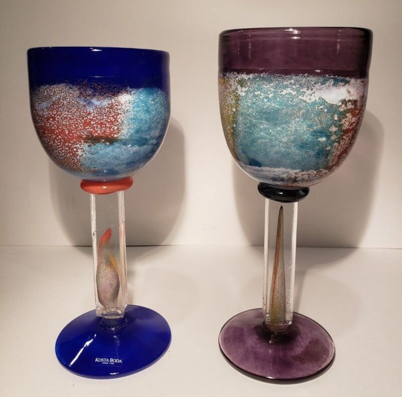 Kosta Boda Goblet Chalice Set of 2 Cups