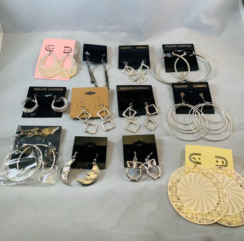 Wholesale Lot 12 Pairs Silver Tone Earrings Hoops Dangle Pierced New 33G