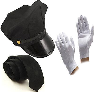 UNISEX BLACK CHAUFFEUR HAT TIE GLOVES LIMO DRIVER - Chauffeur Kostüme