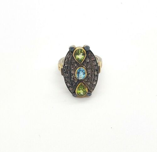 14KT GOLD RING WITH UNCUT DIAMOND POLKI