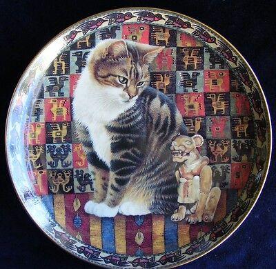 "Danbury Mint 8"" Plate Lesley Ivory Cats Around the World: Malteazer in Peru"