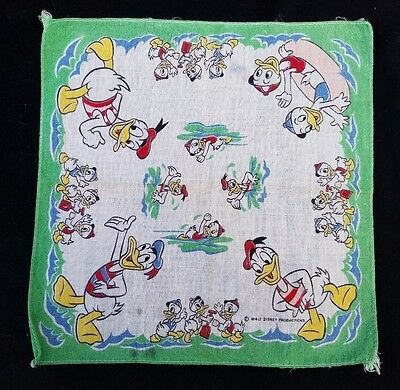 Vintage Children's Walt Disney Handkerchief Donald Duck Huey Dewey Louie BEACH