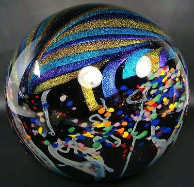 "2001 ROLLIN KARG DICHROIC ART GASS 9"" XLARGE 17LB+ MAGNUM PAPERWEIGHT ORB SPHERE"