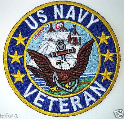 """ US NAVY VETERAN "" Military Veteran  Biker 3"" Rd. Patch P2413 E"