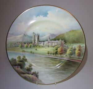 Minton Cabinet Plate of 'Balmoral Castle Aberdeenshire' Signed L Woodhouse