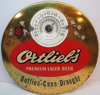 Vintage 1950's ORTLIEB'S Premium Beer Thermometer Sign Round Button Philadelphia