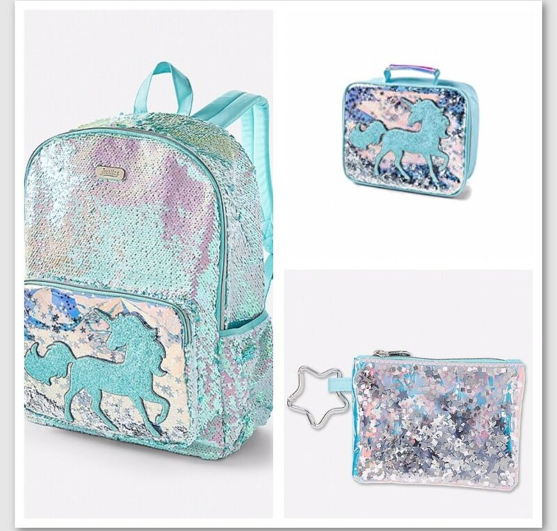 NWT Girls JUSTICE UNICORN Flip Sequin Shaky Backpack & Lunch Tote & Coin Purse