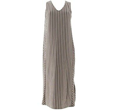 AnyBody Petite V-Neck Cozy Knit Maxi Dress Taupe Stripe Petite 2X NEW A306939