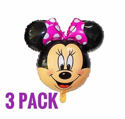 3 Minnie Mouse Balloons Birthday baby shower Party Air Fill FREE SHIP - Balloon Minnie Mouse
