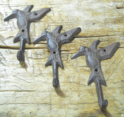 3 Cast Iron HUMMINGBIRD Towel Hanger Coat  Hat Hooks, Key Rack GARDEN Hook BIRD