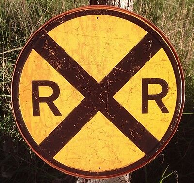RAILROAD CROSSING Warning Sign Tin Vintage Garage Bar Decor Old Round Train](Train Decor)