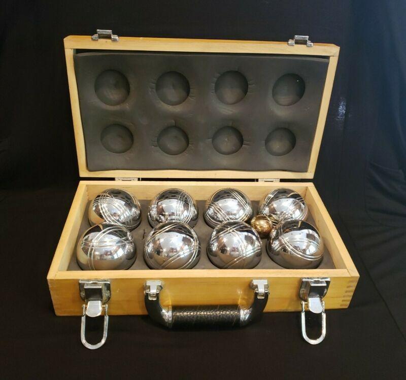Lawn Bowling Bocce Petanque Boules 8 Chrome Balls & Jack w Wood/Lthr Case VTG