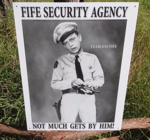 Andy Griffith TV Show Fearless Fife Security Agency Metal Sign Tin Vintage Bar