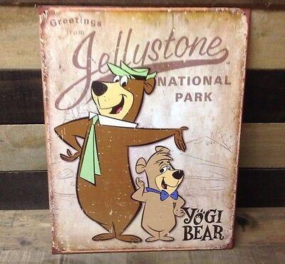 YOGI BEAR JELLYSTONE NATIONAL PARK Sign Tin Vintage Garage Bar Decor Old Rustic