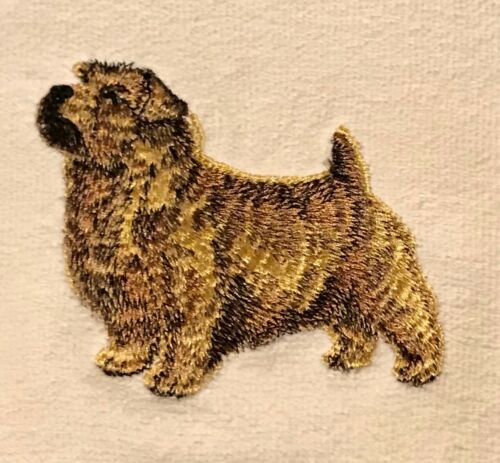 Norfolk Terrier Mens Polo Shirt 100% Cotton Pique Embroidered Large Sand