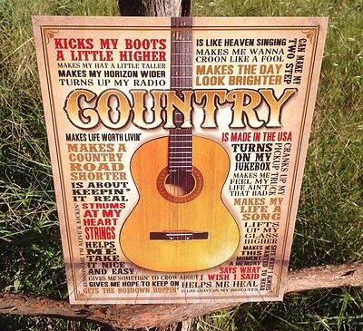 COUNTRY MUSIC Made in Usa Sign Tin Vintage Garage Bar Decor Old Rustic  ](Country Music Decor)