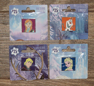 NEW Disney Limited Release FROZEN gift card pin set - Olaf Elsa Anna & Kristoff