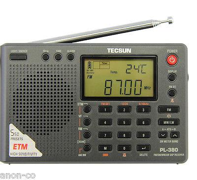 Tecsun PL380 AM FM Shortwave Stereo World Band Receiver Blac