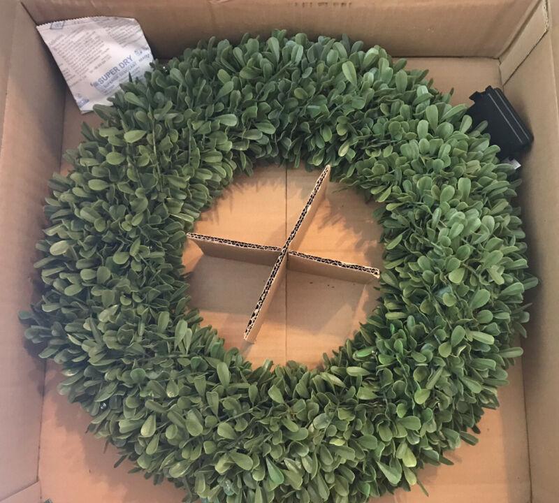 "Pottery Barn Faux Lit Boxwood Wreath 20"" Diameter - RARE - New Holiday Decor"