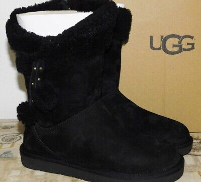 NEW WOMENS SIZE 5 BLACK UGG PLUMDALE CUFF SHORT SUEDE SHEEPSKIN BOOTS 1102933 for sale  Ventura