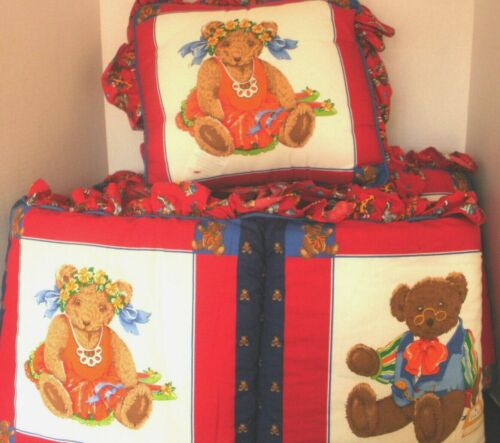 BRANDEE DANEILLE~Red & blue TEDDY BEAR CRIB BUMPER PAD with MATCHING PILLOW