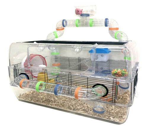 """28"""" Deluxe Large 3-Floors Acrylic Hamster Mouse Palace Habitat House Home Cage"""