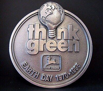1995 John Deere Earth Day Think Green Pewter Belt Buckle #221/ 500 2nd in Series