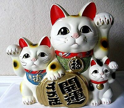 VINTAGE MANEKI NEKO JAPANESE POTTERY LUCKY COIN MONEY BANK 3 CATS KITTENS