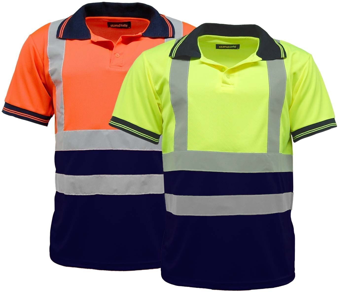 Men 39 s 2 tone hi vis visibility polo shirts long sleeve for Hi vis t shirt printing
