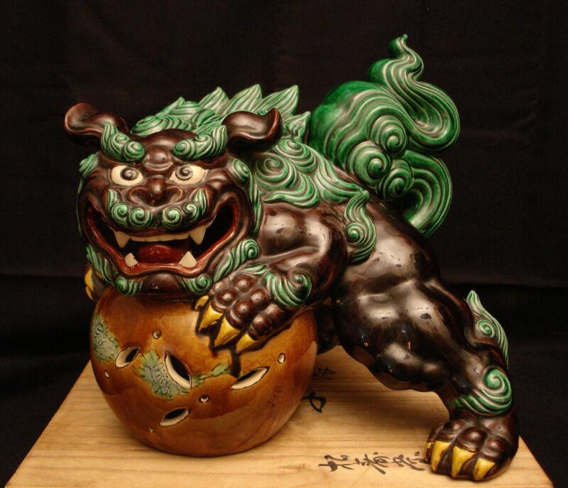 "11"" H MARKED Kutani SeiAkira Zo JAPANESE SHOWA KUTANI FOO DOG SHISHI W/ WOOD BOX"