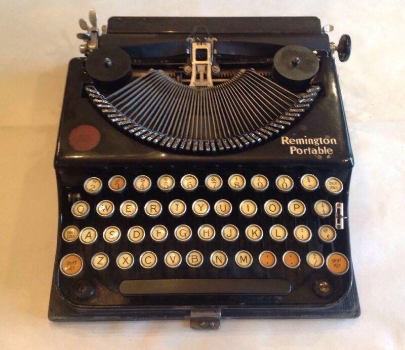Antique REMINGTON PORTABLE Typewriter Model 1 w/ Hard Carrying Case 1920