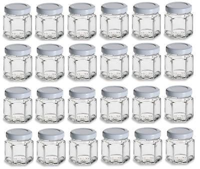 24 pcs 1.5 oz Mini Hexagon Glass Jars w/ White Plastisol Lined Lids 45 ml favor