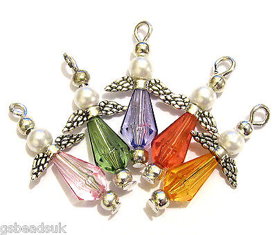 Mini Faceted Angel Making Kit Makes 20 Beaded Pendants Charms Jewellery M4
