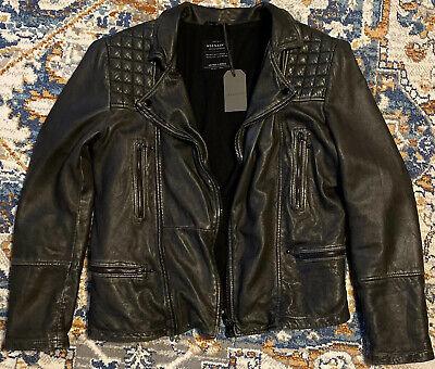 AllSaints Mens Leather Jacket Cargo XL